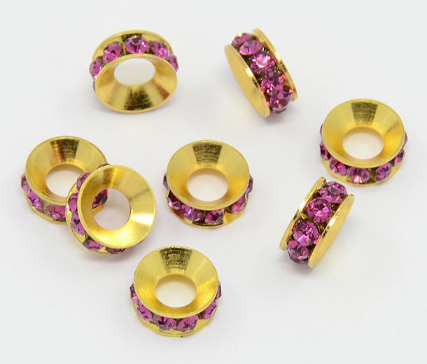 Fuchsia Pink Gold Tone Rhinestone Rondelle Beads, 9mm, Pack of 10