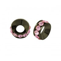 Light Rose Gunmetal Rhinestone Rondelle Beads, 9mm