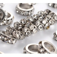 Crystal Rhodium Large Hole Rhinestone Rondelle Beads, 8x3mm