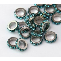 Aquamarine Rhodium Large Hole Rhinestone Rondelle Beads, 8x3mm, Pack of 10