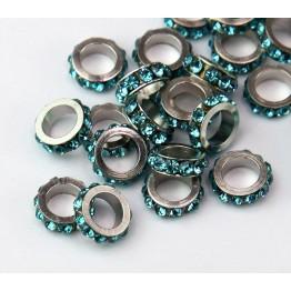 Aquamarine Rhodium Large Hole Rhinestone Rondelle Beads, 8x3mm