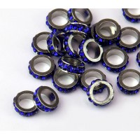 Sapphire Blue Rhodium Large Hole Rhinestone Rondelle Beads, 8x3mm, Pack of 10