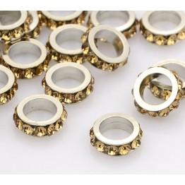 Light Topaz Rhodium Large Hole Rhinestone Rondelle Beads, 8x3mm