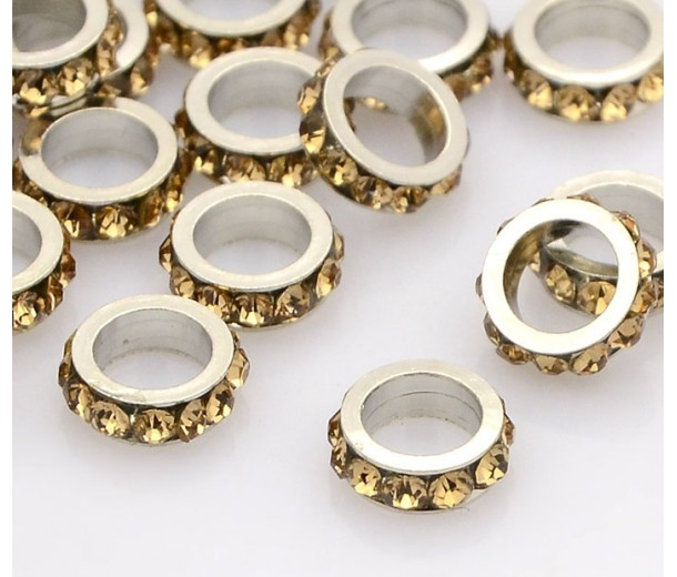 Light Topaz Rhodium Large Hole Rhinestone Rondelle Beads, 8x3mm, Pack of 10