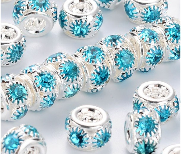 Aquamarine Silver Tone Rhinestone Beads, Puffy Rondelle, 8x5mm