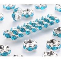 Aquamarine Silver Tone Rhinestone Rondelle Beads, Wavy Edge, 8x4mm