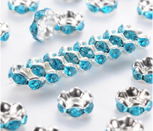 Aquamarine Silver Tone Rhinestone Rondelle Beads, Wavy Edge, 8x4mm, Pack of 10