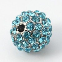 Aqua Blue Gunmetal Tone Rhinestone Ball Beads, 10mm Round, Pack of 5