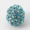 Aqua Blue Gunmetal Tone Rhinestone Ball Beads, 12mm Round, Pack of 5