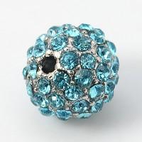 Aqua Blue Platinum Tone Rhinestone Ball Beads, 10mm Round, Pack of 5