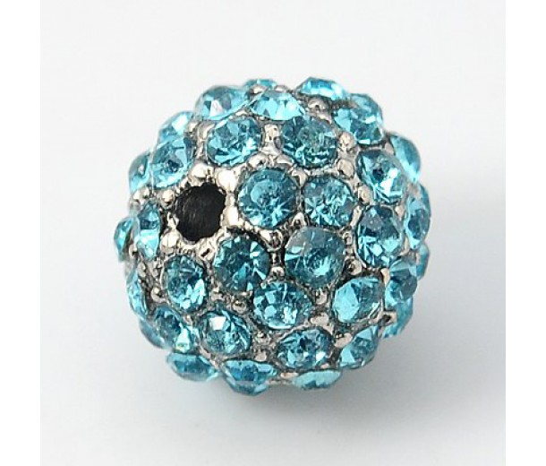 Aqua Blue Platinum Tone Rhinestone Ball Beads, 10mm Round, Pack of 5