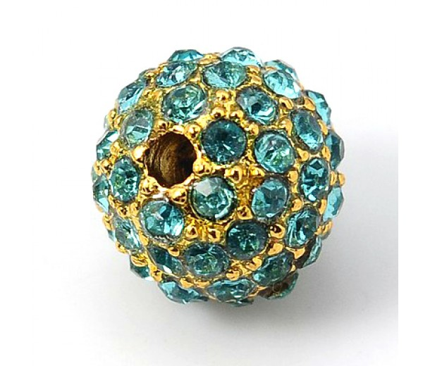 Aqua Blue Gold Tone Rhinestone Ball Beads, 10mm Round, Pack of 5