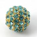 Aqua Blue Gold Tone Rhinestone Ball Beads, 10mm Round, Pack of 5