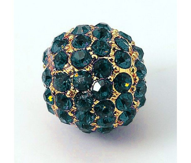 Blue Zircon Gold Tone Rhinestone Ball Beads, 10mm Round, Pack of 5