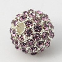 Light Amethyst Silver Tone Rhinestone Ball Beads, 10mm Round, Pack of 5