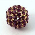 Amethyst Gold Tone Rhinestone Ball Beads, 10mm Round, Pack of 5