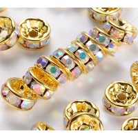 Crystal AB Gold Tone Rhinestone Rondelle Beads, Straight Edge, 8x4mm, Pack of 10