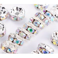 Crystal AB Silver Tone Rhinestone Rondelle Beads, Straight Edge, 8x4mm, Pack of 10