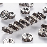 Black Diamond Silver Tone Rhinestone Rondelles, Straight Edge, 8x4mm, Pack of 10