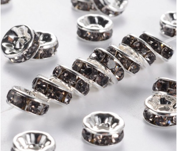 Black Diamond Silver Tone Rhinestone Rondelle Beads, Straight Edge, 8x4mm