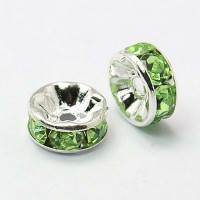 Light Green Silver Tone Rhinestone Rondelle Beads, Straight Edge, 8x4mm, Pack of 10