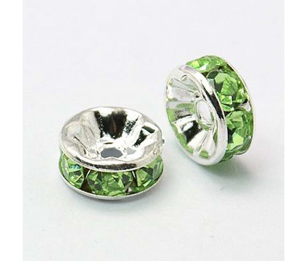 Light Green Silver Tone Rhinestone Rondelle Beads, Straight Edge, 8x4mm