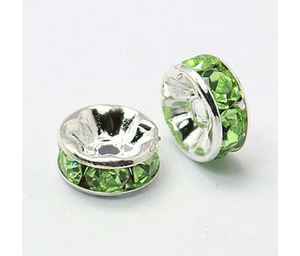 Light Green Silver Tone Rhinestone Rondelle Beads, Straight Edge, 8x4mm, Pack of 10