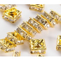Crystal Gold Tone Rhinestone Rondelle Beads, Square, 8x4mm