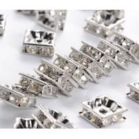Crystal Rhodium Rhinestone Rondelle Beads, Square, 8x4mm, Pack of 10