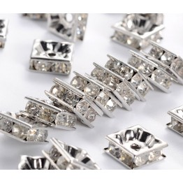 Crystal Rhodium Rhinestone Rondelle Beads, Square, 8x4mm