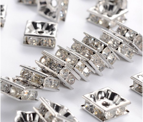Crystal Rhodium Rhinestone Rondelle Beads, Square, 8x4mm, Pack of 10