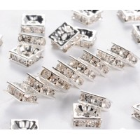 Crystal Silver Tone Rhinestone Rondelle Beads, Square, 8x4mm, Pack of 10