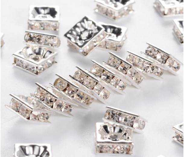 Crystal Silver Tone Rhinestone Rondelle Beads, Square, 8x4mm