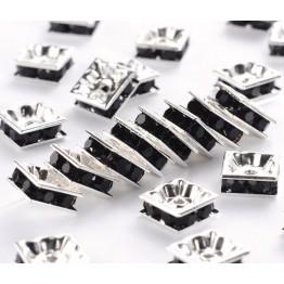 Jet Silver Tone Rhinestone Rondelle Beads, Square, 8x4mm