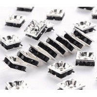 Jet Silver Tone Rhinestone Rondelle Beads, Square, 8x4mm, Pack of 10