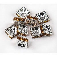 Yellow Silver Tone Rhinestone Rondelle Beads, Square, 8x4mm