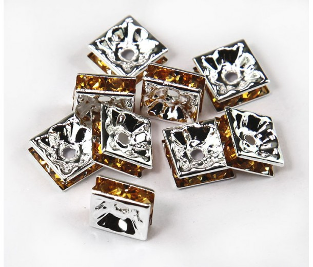 Yellow Silver Tone Rhinestone Rondelle Beads, Square, 8x4mm, Pack of 10