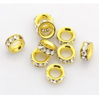 Crystal Gold Tone Rhinestone Rondelle Beads, 8mm, Pack of 10