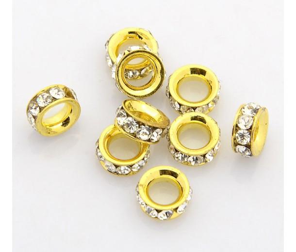 Crystal Gold Tone Rhinestone Rondelle Beads, 8mm