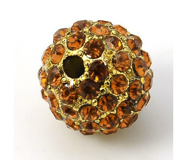 Topaz Gold Tone Rhinestone Ball Beads, 10mm Round