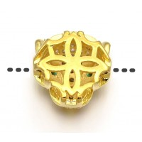 11mm Panther Head Cubic Zirconia Focal Bead, Gold Tone, 1 Piece