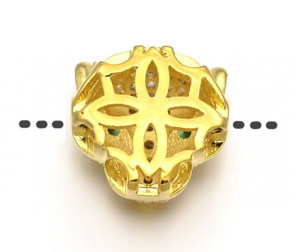 11mm Panther Head Cubic Zirconia Focal Bead, Gold Tone