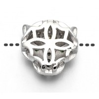 11mm Panther Head Cubic Zirconia Focal Bead, Rhodium Plated, 1 Piece
