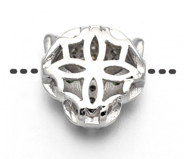 11mm Panther Head Cubic Zirconia Focal Bead, Rhodium Plated