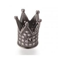 12mm Crown Cubic Zirconia Focal Bead, Gunmetal