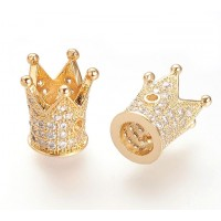 12mm Crown Cubic Zirconia Focal Bead, Gold Tone
