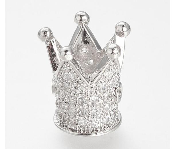 12mm Crown Cubic Zirconia Focal Bead, Rhodium Finish