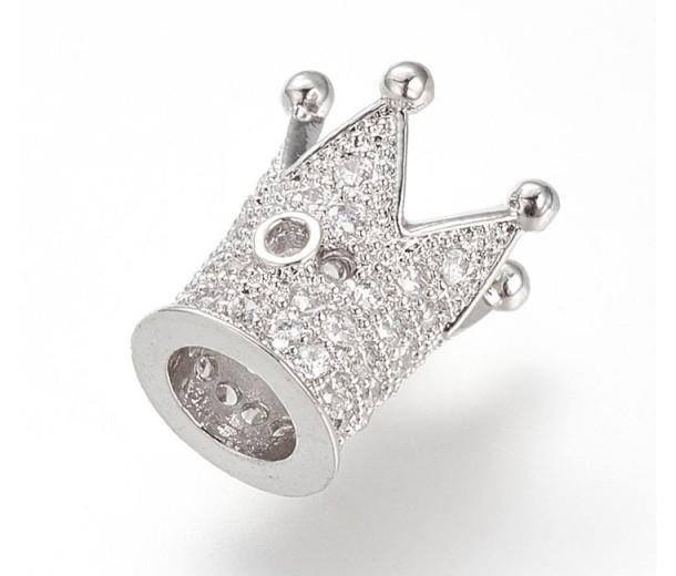 12mm Crown Cubic Zirconia Focal Bead, Rhodium Finish