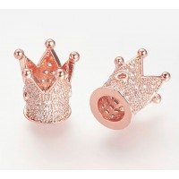 12mm Crown Cubic Zirconia Focal Bead, Rose Gold Tone