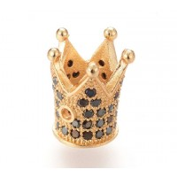 12mm Crown Cubic Zirconia Focal Bead, Black on Gold Tone